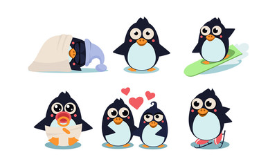 Flat vector set of funny penguins in different actions sleeping, surfing, skating, baby in diaper and pacifier in mouth, couple in love