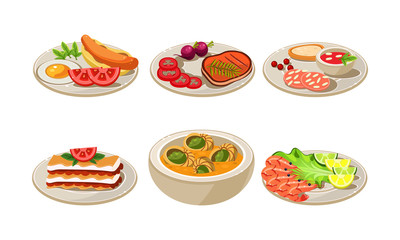 Flat vector set of appetizing dishes. Plates with tasty food for breakfast and dinner. Cooking theme