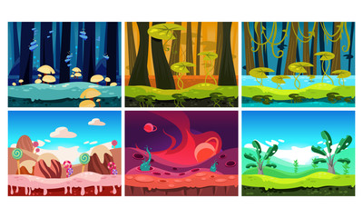Flat vector set of backgrounds for mobile and computer game. Fantasy world. Sweet land, forests and jungles. Cartoon landscapes