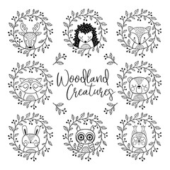 A vector set of hand drawn cute woodland animals. Perfect for stickers, tee shirt logo, greeting card, poster, invitation, print design.