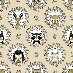 Seamless vector pattern with cute woodland animals in wreath on cream background.