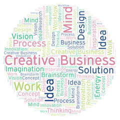 Creative Business word cloud, made with text only.