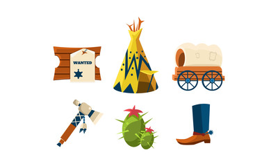Flat vector set of attributes of wild west. Cowboy s boot, wigwam, green cactus, wooden board with wanted poster and carriage