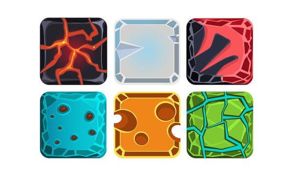 Vector set of materials and textures for mobile or computer game. Lava, glacier, water and glossy stones. Gaming assets
