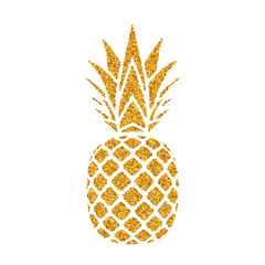 Pineapple golden with leaf. Tropical gold exotic fruit isolated white background. Symbol of organic food, summer, vitamin, healthy. Nature logo. Design element silhouette icon. Vector illustration