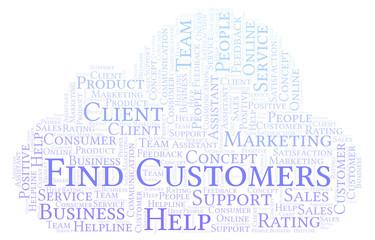 Find Customers word cloud.