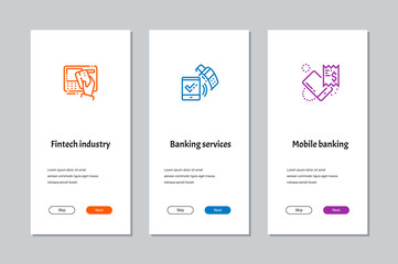 Fintech industry, Banking services, Mobile banking onboarding screens