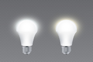 Set of LED lightbulbs with cold and warm light, glowing effect, isolated on simple background
