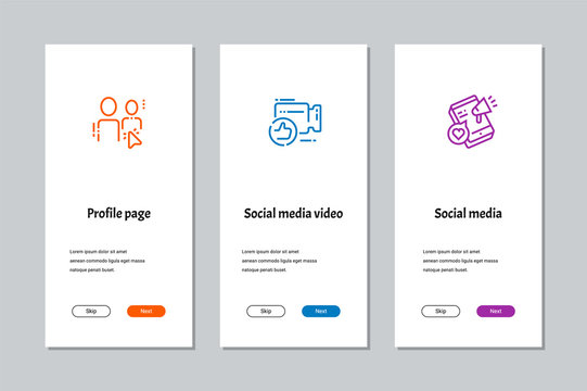 Profile page, Social media video, Social media onboarding screens