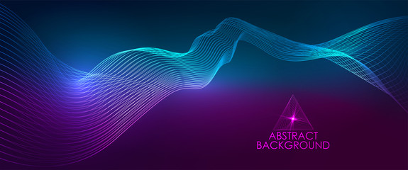 Amplitude Abstract Background with a colored dynamic waves. Abstract soundtrack wave energy background or digital music beat tracking technology color visualization vector illustration Fotoväggar