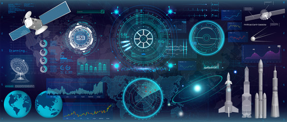 Head up display, (HUD) UI style. Futuristic interface technology design. Big set, space elements. Concept futuristic interface and modern technology elements. Vector HUD collection for APP Wall mural