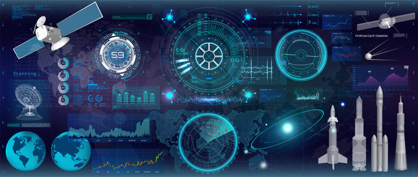 Head up display, (HUD) UI style. Futuristic interface technology design. Big set, space elements. Concept futuristic interface and modern technology elements. Vector HUD collection for APP