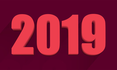 2019 Vector illustration. The 3D numbers 2019 lie beautifully in isometry and a shadow falls from them. Background burgundy. 3D Vector illustration of a new year for your project
