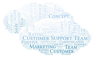 Customer Support Team word cloud.