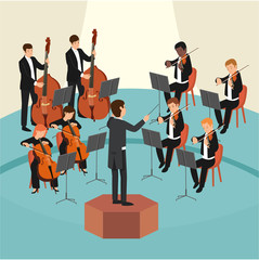 Set of orchestra group with the conductor on stage