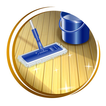 Mop cleaning dirty wood floor to shiny icon. Insoled on white background. Vector illustration.