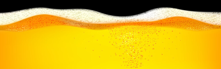 Yellow horizontal beer foam background illustration. Beer foam background with realistic bubbles menu design for banners and flyers.