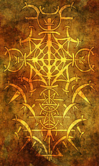 Back cover design of tarot card. Golden gothic pattern on old texture background. Esoteric, occult and Halloween concept, illustration with mystic symbols