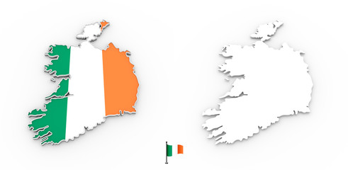 3D map of Ireland white silhouette and flag
