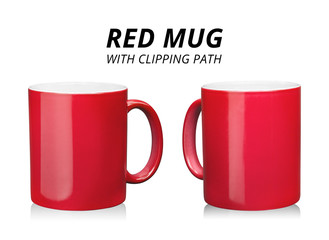 Red coffee mug isolated on white background. Template of ceramic container for drink. ( Clipping path )