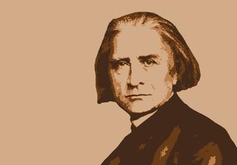 Liszt, musicien, portrait, personnage, musique, célèbre, classique, compositeur, visage, orchestre,