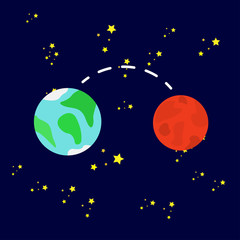 vector illustration, Inner planets. Mars and Earth, the path between the planets