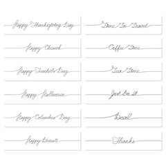 Set of handwritten inscriptions. One line drawing of phrase. Vector illustration