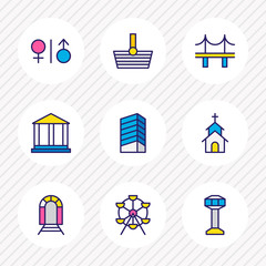 Vector illustration of 9 urban icons colored line. Editable set of church, building, railway and other icon elements.