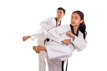 Group of taekwondo kicking practice