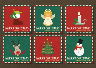 Merry Christmas and Happy new year vector greeting card collection set.