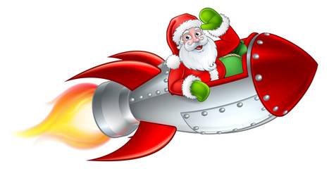 Santa Claus Christmas cartoon character riding in rocket ship sleigh