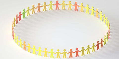 digital people standing in circle - Network concept - 3D rendering