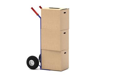 Fototapeta Sackkarre mit einem Stapel Umzugskartons - stehend - Karton ohne Beschriftung - neutral - freigestellt obraz
