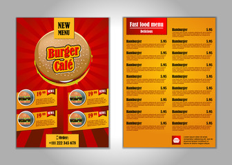 Fast food flyer design template in A4 size...candy colors. vector illustration