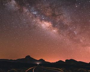 Astrophotography in Tenerife, Spain. Core of milkyway near Teide vulcano