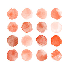 Set of colorful watercolor hand painted round shapes, stains, circles, blobs isolated on white. Illustration for artistic design