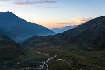 Idyllic sunrise in Adamello Brenta National Park, South Tyrol, Italy