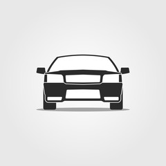 Flat paper cut style icon of a car face. Vector illustration