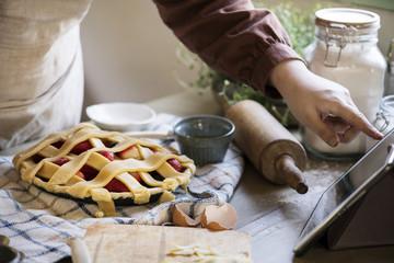 Foto op Plexiglas Bar Homemade mixed berry pie food photography recipe idea