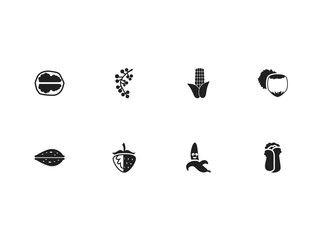 Set of 8 editable food icons. Includes symbols such as funny banana, currant, hazelnut and more. Can be used for web, mobile, UI and infographic design.