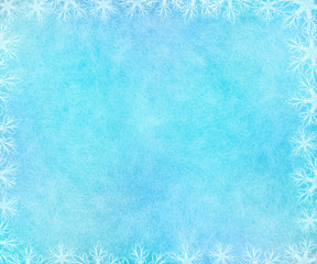 Frosty winter background with scratched effect and glowing snowflakes frame.