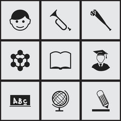 Set of 9 editable science icons. Includes symbols such as lesson, atom, trumpet and more. Can be used for web, mobile, UI and infographic design.