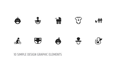 Set of 10 editable kid icons. Includes symbols such as duck, bodysuit, soothers and more. Can be used for web, mobile, UI and infographic design.
