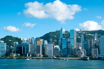 Hong Kong skyline in Victoria Harbour