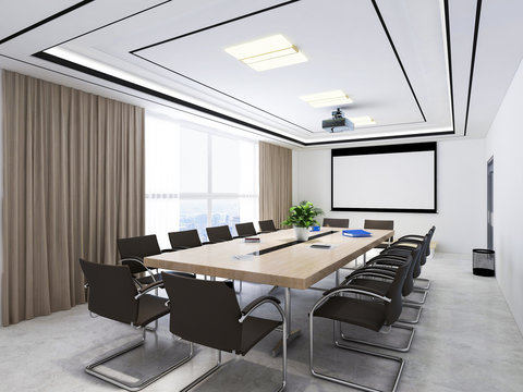 Large conference room with projectors, conference tables and chairs, etc.