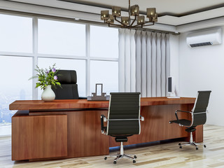 The office of the company's top management, leather sofas, wooden office tables and floor-to-ceiling windows, etc.