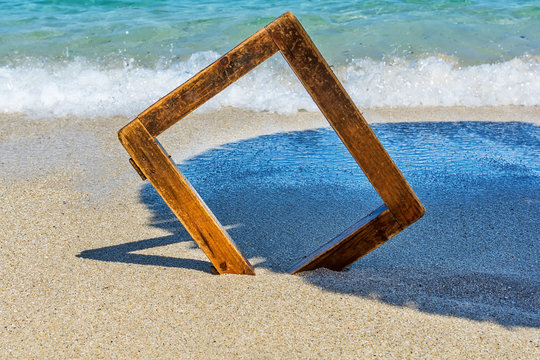 wooden picture frame at sea
