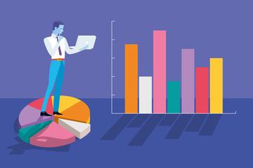 Businessman Analyzing Graphs and Statistics