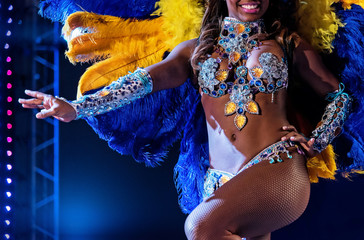 Beautiful bright colorful carnival costume dark background. samba dancer hips carnival costume bikini feathers rhinestones