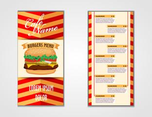 Fast food doble side flyer design. vector template. Brochure and Layout Design. food concept.